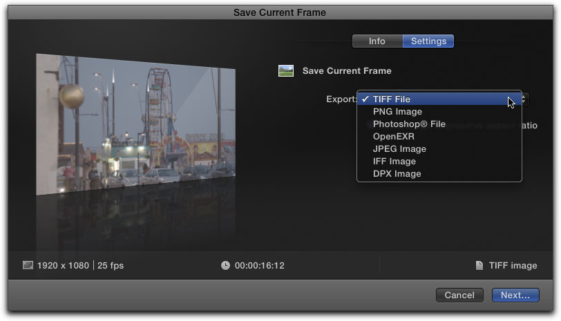 Exporting a Still Image from Final Cut Pro X