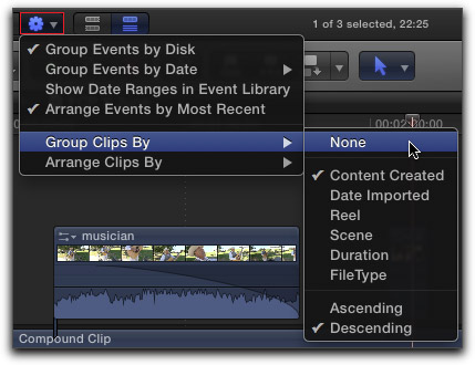 how to select same clip final cut