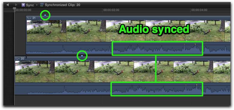 Synchronizing clips in Final Cut Pro X