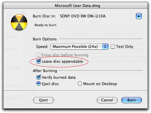 Multisession Burns Using Tiger's Disk Utility