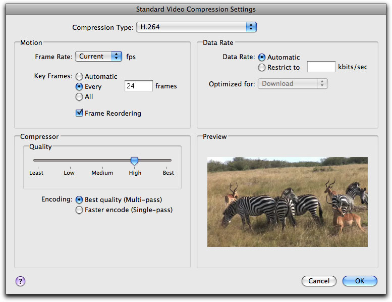 QuickTime H 264 movies from FCP for the Web